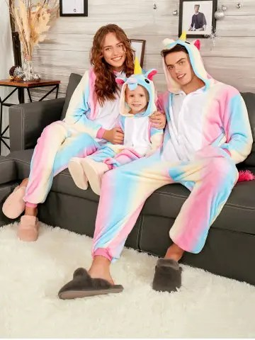 Rainbow Unicorn Animal Christmas Family Onesie Pajamas