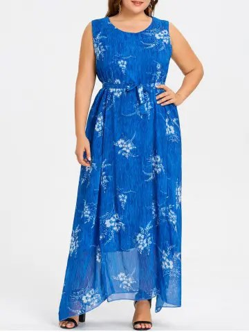 Firstgrabber Plus Size Long Floral Print Chiffon Dress