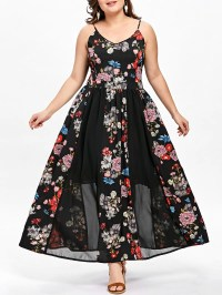 Black 3xl Plus Size Bohemian Floral Flowing Slip Dress