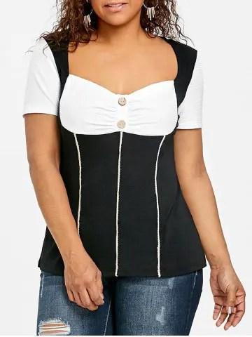 Firstgrabber Plus Size Sweetheart Neck Empire Waist T-shirt