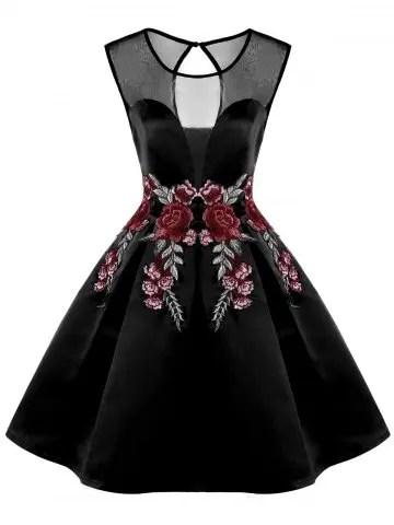 Flower Embroidery Sleeveless Flare Dress
