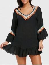 Bell Sleeve Crochet Trim Cover Up Dress