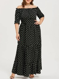 Black 3xl Dot Print Plus Size Ankle Length Dress | Rosegal.com