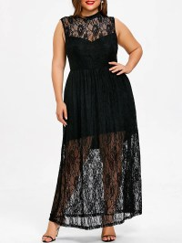 Black 4xl Plus Size Sleeveless Floral Flowing Maxi Dress