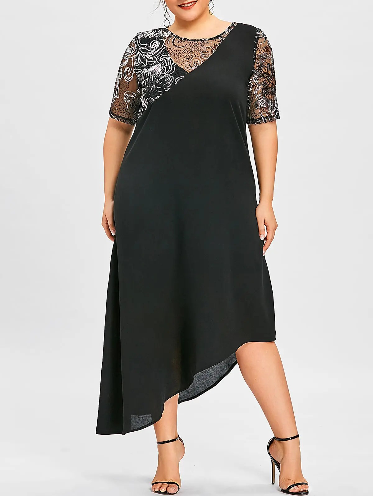 Black 5xl Plus Size Sequined Asymmetric Flowing Dress