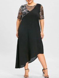 Black 5xl Plus Size Sequined Asymmetric Flowing Dress ...