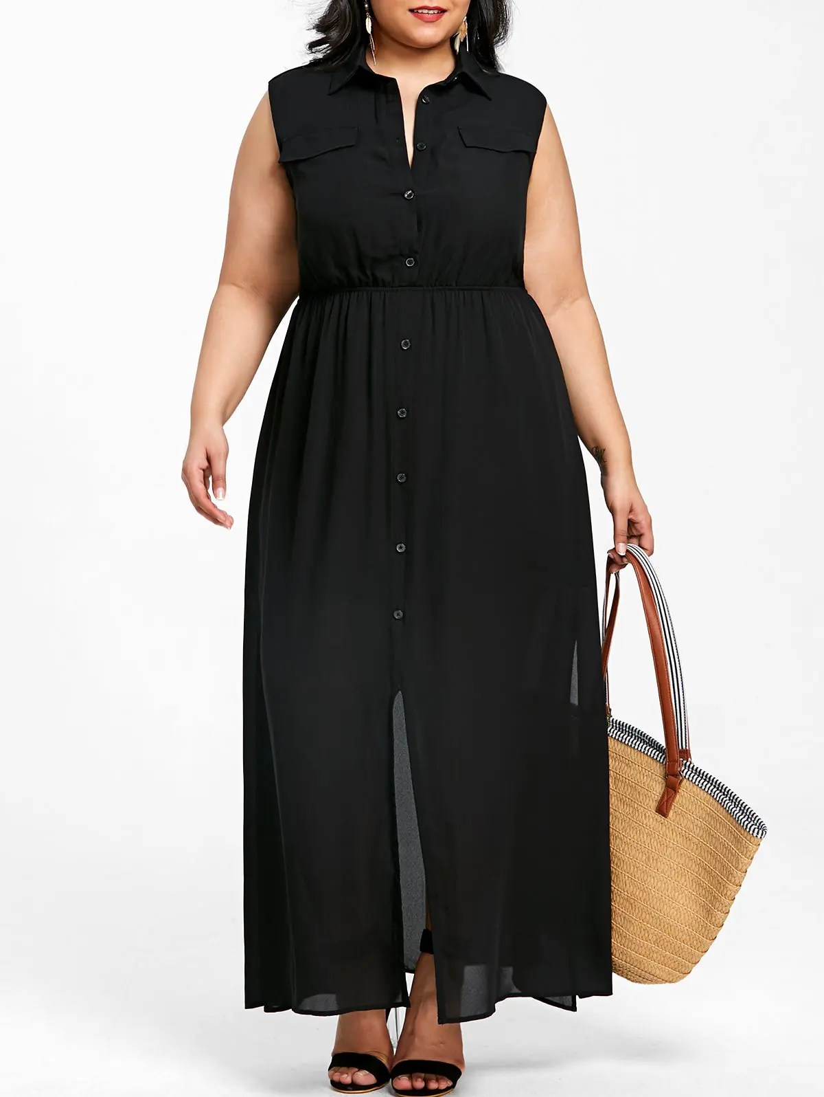 Black 5xl Plus Size Sleeveless Flowing Shirt Dress