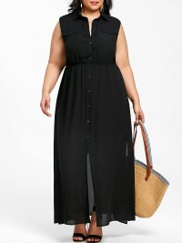 Black 5xl Plus Size Sleeveless Flowing Shirt Dress ...