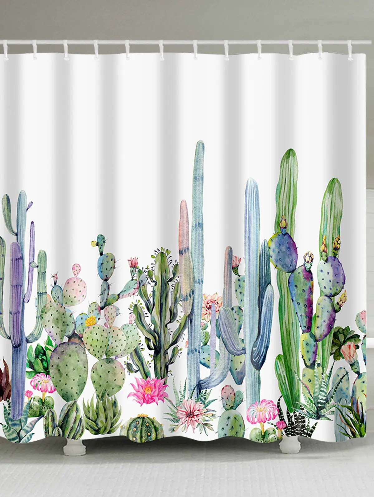 Bathroom Shower Curtain Watercolor Painting Cactus Print Bathroom Shower Curtain
