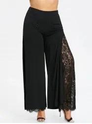 Plus Size Lace High Slit Palazzo Pants -