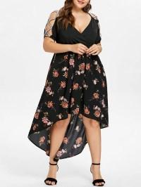 Black 5x Plus Size Floral Maxi Flowing Surplice Dress