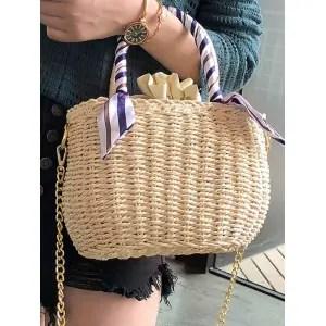 Risultati immagini per https://www.rosegal.com/tote/straw-scarf-embellished-metal-chain-tote-bag-2261417.html