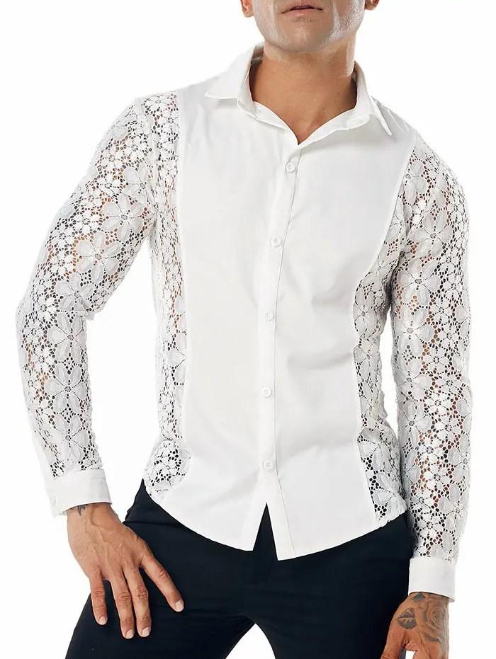 Lace Button Up Shirt
