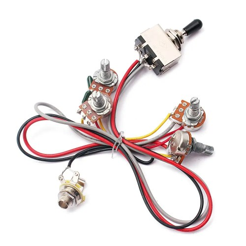 small resolution of cheap 2v 2t wiring harness 3 way toggle switch 500k pots for guitar