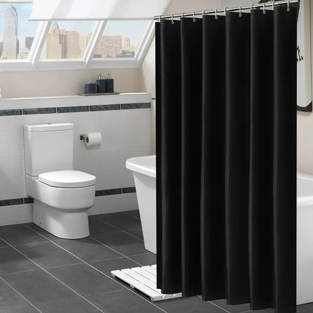 shower curtain in living room black white and teal decor 2019 plain 90g polyester cloth waterproof bathroom best partition bedroom