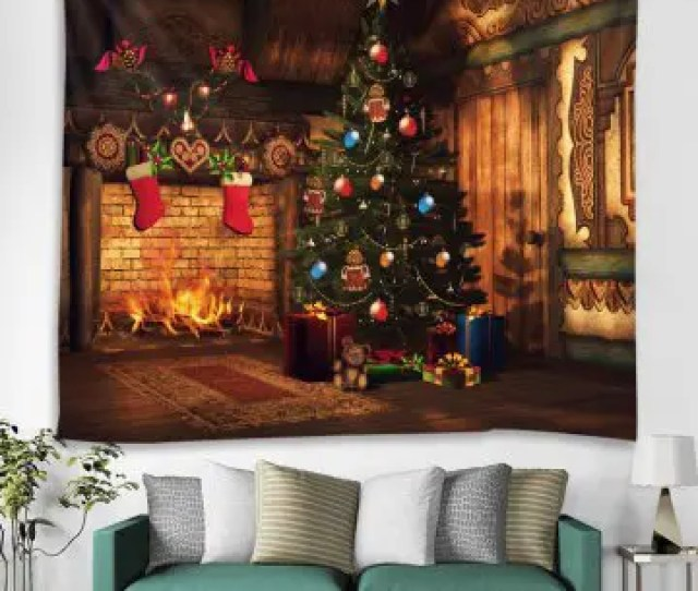Vintage Christmas Tree Gift Tapestry Art Decoration