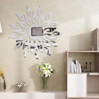Silver Diy Sun Mirror Wall Stickers For Wall Decor ...