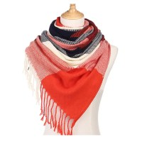 Red Korean Cashmere Plaid Scarf Autumn And Winter Scarves ...