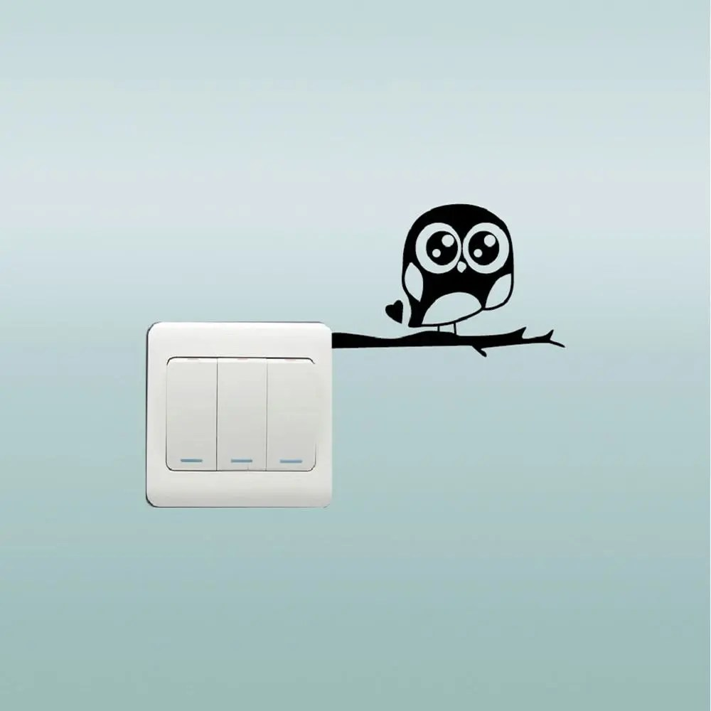 Cute Owl Decor Cute Owl Standing On The Branch Switch Sticker Cartoon Animal Vinyl Wall Decor