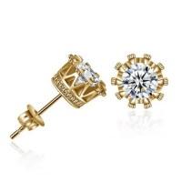 Golden Fashion Diamond Crown Earrings   RoseGal.com