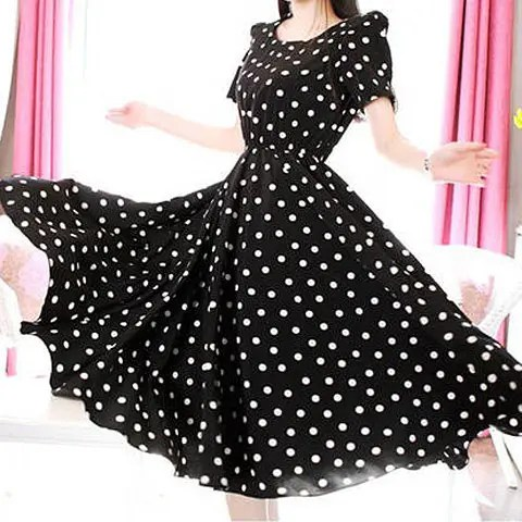 3/4 Sleeves Scoop Neck Waistband Beam Waist Polka Dot Pattern Ruffles Ladylike Women's Dress