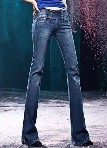 Slimming Mid-Waisted Three-Buttons Women's Boot-Cut Jeans