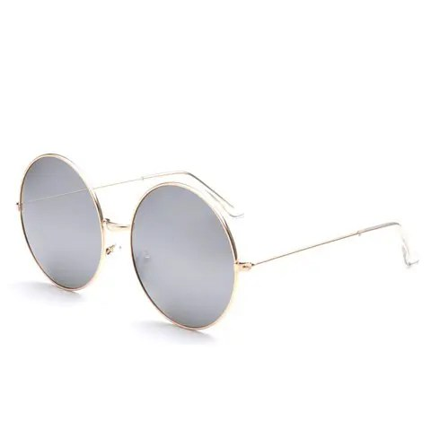 Chic Big Rounded Frame Alloy Mirror Bracket Sunglasses For Women