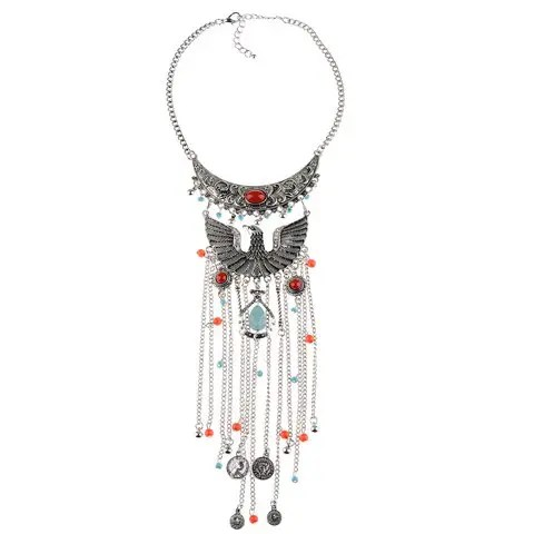 Silver Vintage Phoenix Shape Hollow Out Coin Beads Pendant