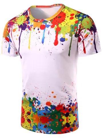 3D Colorful Splatter Paint Short Sleeve T-Shirt
