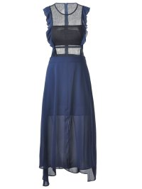 Deep Blue Fashionable Fitted Scoop Neck Midi Calf Dress ...
