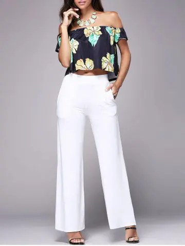 Off The Shoulder Floral Crop Top   Wide Leg Pants