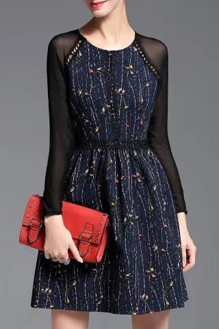 Best Mesh Long Sleeve Mini Dress PURPLISH BLUE L