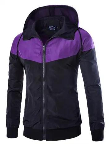 Contrast Color Hooded Windbreaker Jacket