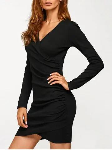 Affordable Long Sleeve Ruched V Neck Bandage Dress BLACK S
