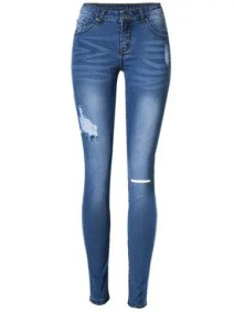 Shop Broken Hole Stretchy Jeans BLUE 44