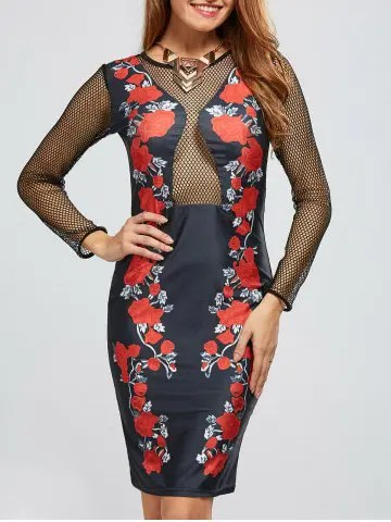 Buy Mesh Insert Floral Bandage Club Dress BLACK S