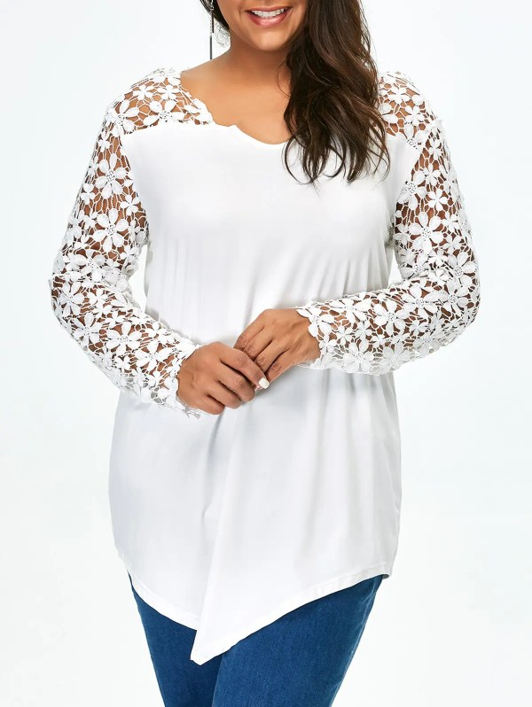 White 5xl Lace Panel Size Long Sleeve Tunic T Shirt