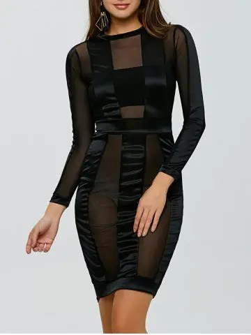 Online See Through Long Sleeve Bandage Club Dress BLACK S