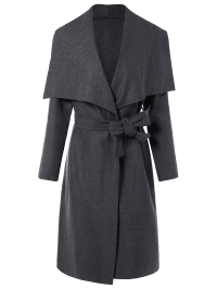 Gray Shawl Collar Belted Wrap Coat