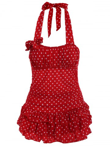 Red Stylish Halter Neck Backless Polka Dot Flounce One Piece Swimsuit For Women