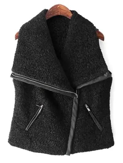 Turn Down Collar Sleeveless Splicing Zipper Design Waistcoat