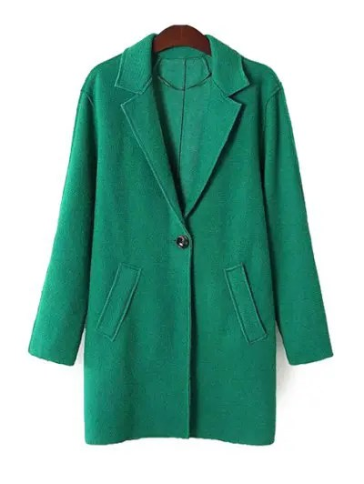 Solid Color Long Sleeve Lapel Coat Worsted Coat