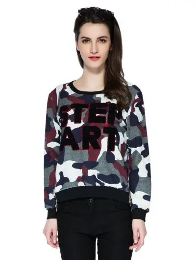 Scoop Collar Long Sleeve Letter and Camouflage Pattern Sweatshirt