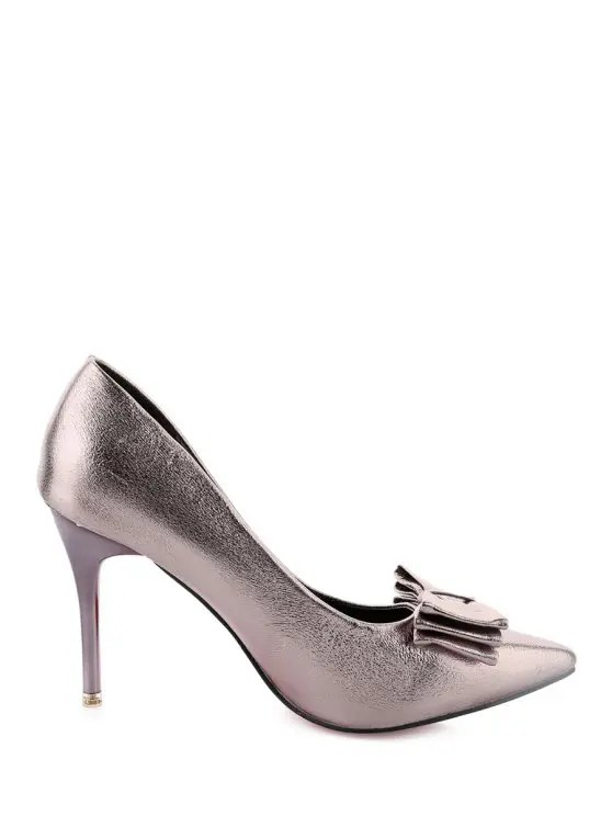 metallic color stiletto heel