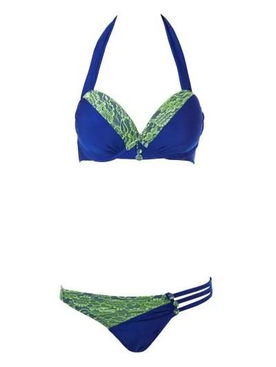 Halterneck Lace Splicing Bikini Set