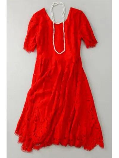 Square Neck Short Sleeve Lace A Line Dress