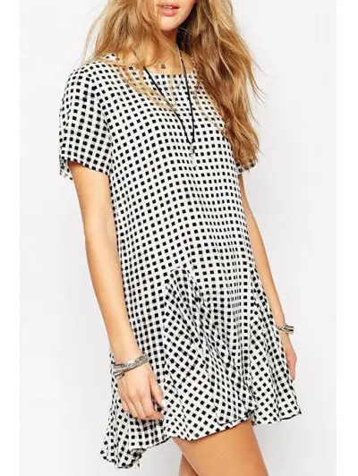 Round Neck Short Sleeve Plaid Loose Fitting Fishtail Dress