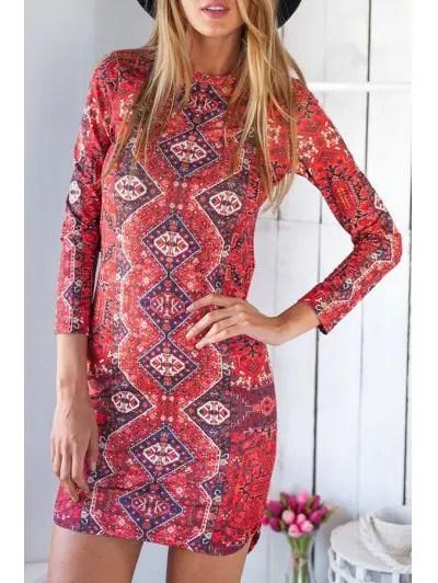 Jewel Neck 3 4 Sleeve Ethnic Print Irregular Hem Bodycon Dress