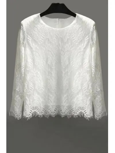 Jewel Neck Lace Solid Color Long Sleeve Blouse