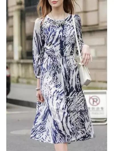 Jewel Neck Long Sleeve Ink Print Dress
